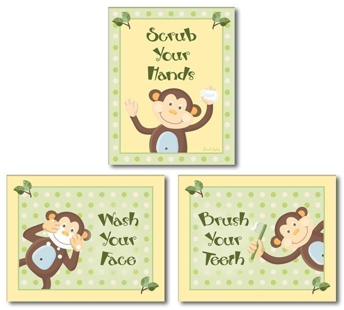 SET Of 3 Bathroom Prints   Cute Jungle Monkey Bathroom Art Print Decor Kids  Wall Art