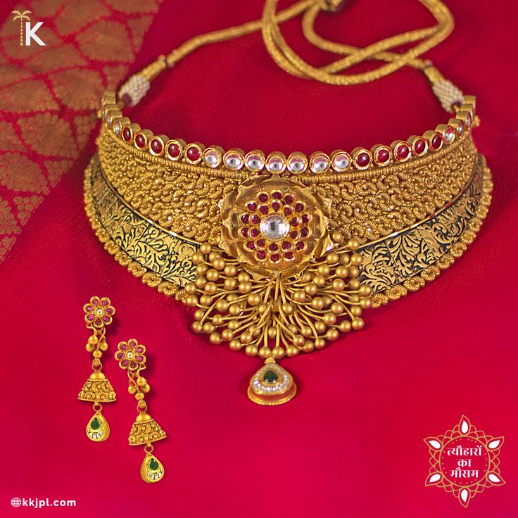 With festive feeling in the heart and spirituality in the soul, lets celebrate #TyoharonKaMausam with Karan Kothari Jewellers.    #AntiqueGold #Polki #Choker #ColourStone #PureAndTimeless