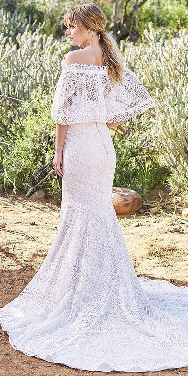 21 Fantastic Lace Beach Wedding Dresses ❤ lace beach wedding dresses sheath straight shoulder romantic by lillian west ❤ Full gallery: https://weddingdressesguide.com/lace-beach-wedding-dresses/ #beachweddingdresses #romanticweddings