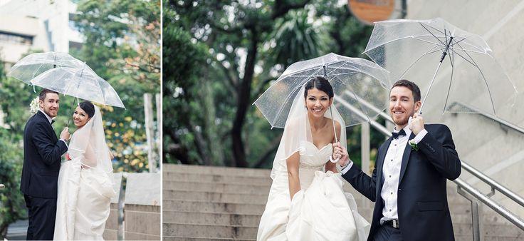 What if it rains on your wedding day? Rainy day wedding idea! Wild and Grace | Urban Auckland City Wedding photography #weddingphotography #rainydaywedding #umbrellawedding