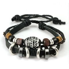 Black Leather Rope Bracelet With Wooden Beads and Metal Charms