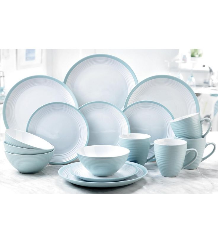 Image for 16-Piece Turquoise and White Stoneware Dinner Set from studio