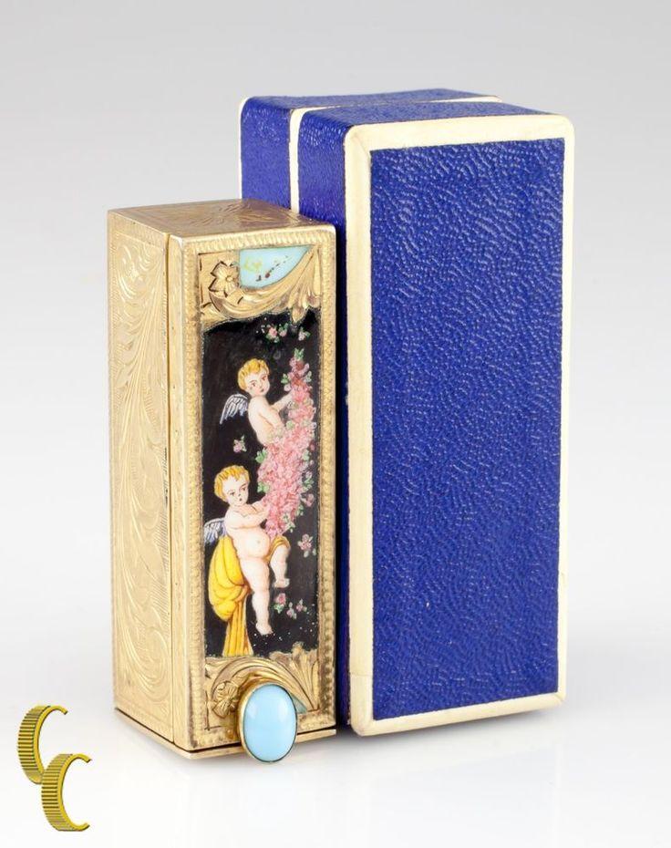 Vintage Italian 800 Silver Lipstick Tube Enamel & Turquoise W/ Box