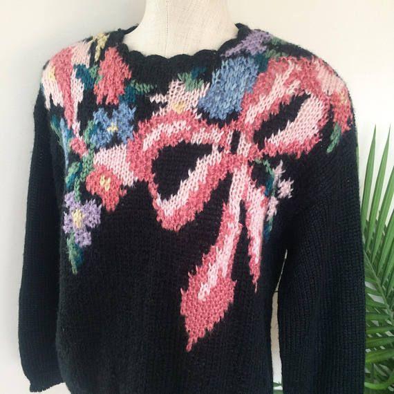 Vintage Black Floral Hand Knit Pullover Sweater by Mz Jones Boudoir