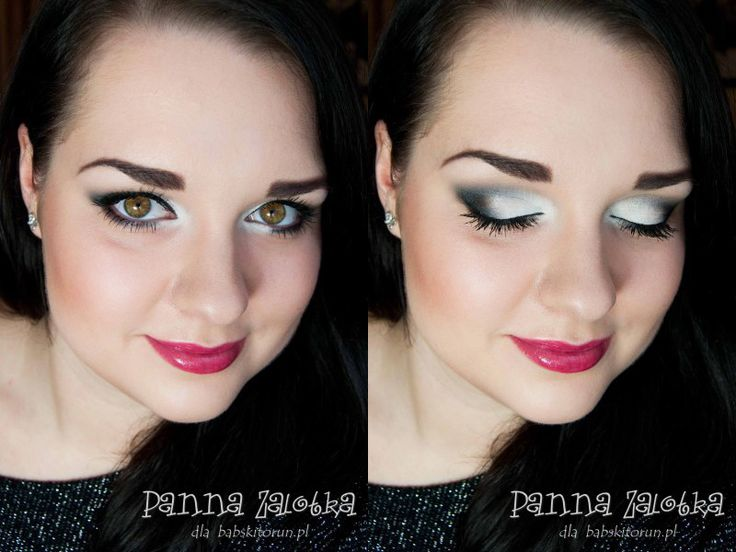 makijaż mikołajkowy - white glittery makeup