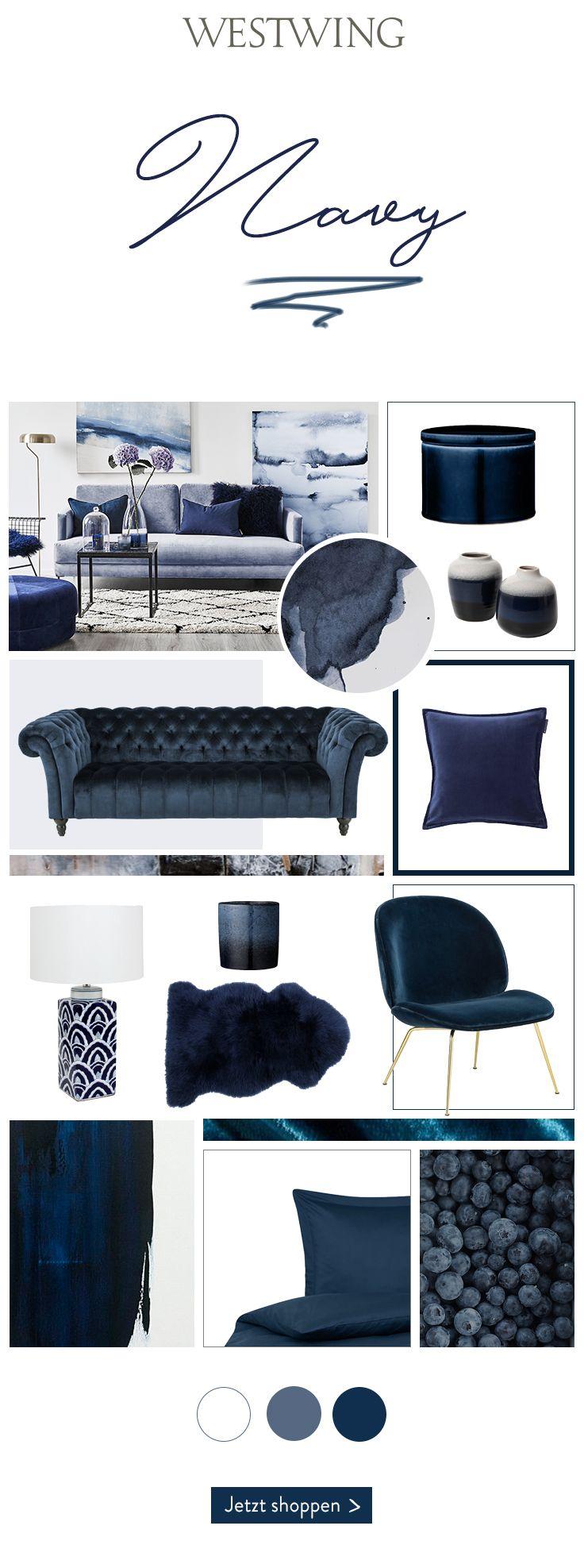 Navy is the new Black! Der moderne und elegante Blauton ist aus dem Interior nicht mehr wegzudenken. Navy wirkt beruhigend und lässt Räume im Vergle…
