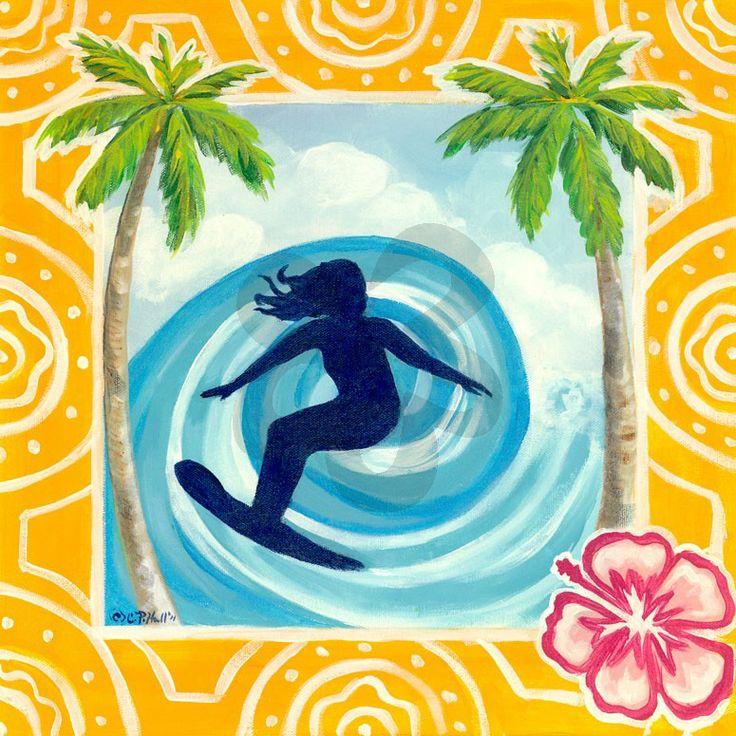Surfing the Barrel - Beach & Ocean Canvas Wall Art | Oopsy daisy
