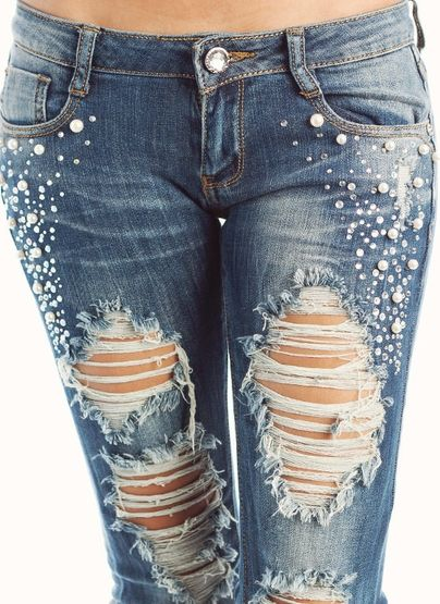 EMBELLISHED DESTROYED JEANS:  Embellished with gorgeous rhinestones and faux pearls.