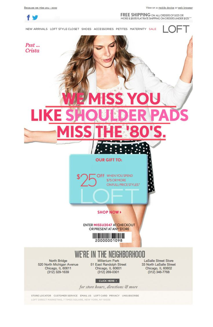 Loft - 'we miss you' email