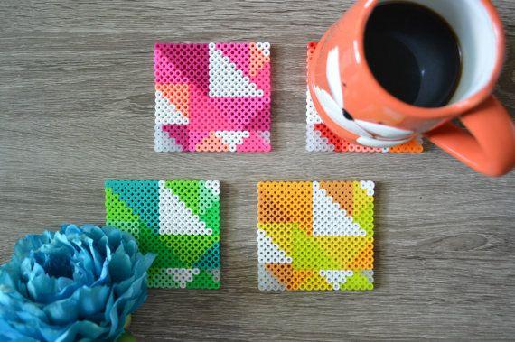 Fuse Bead / Perler Bead Neon Geometric Coasters Set by 8bitkatie
