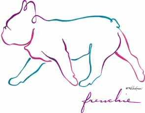 French Bulldog, Outline, illustration