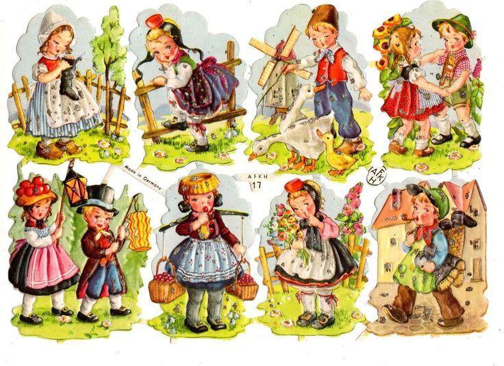 2 Sheets ~ AFKH #17 German  Die Cut Sheet of  8 Dutch Kids ~ Glittered Scrap