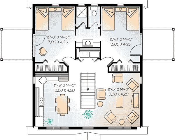 Second Floor Plan of Country   Farmhouse  Ranch   Vacation   Garage Plan 65516