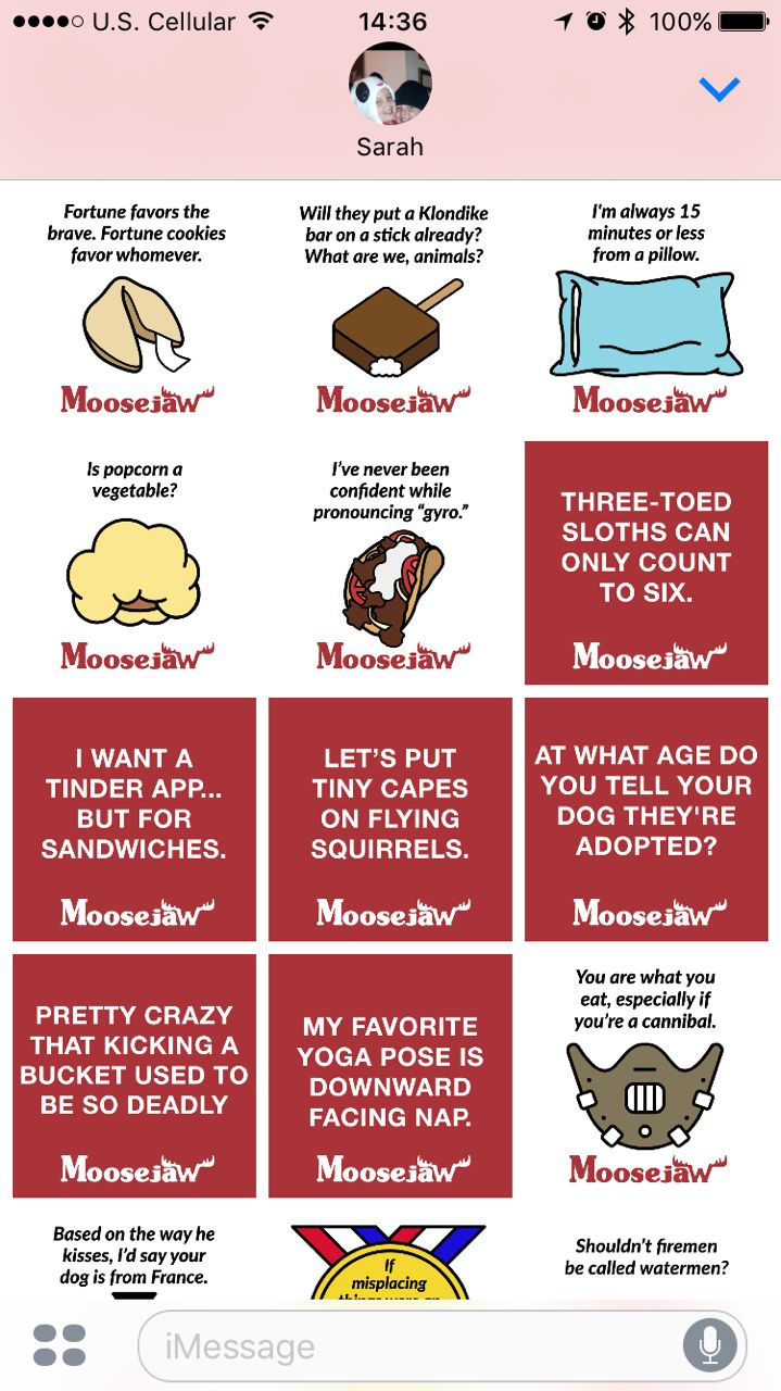 Be one of the first to add some wit and craziness to your texts with @MoosejawMadness #moosejawmadness #sspartners