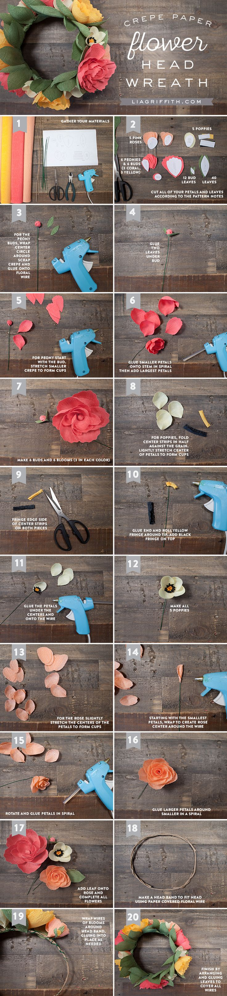 DIY Crepe Paper Flower Crown Tutorial with FREE Printable Template here: http://liagriffith.com/diy-crepe-paper-flower-headband/