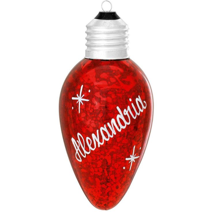 Personalized Red Light Bulb Glass Ornament $10.99