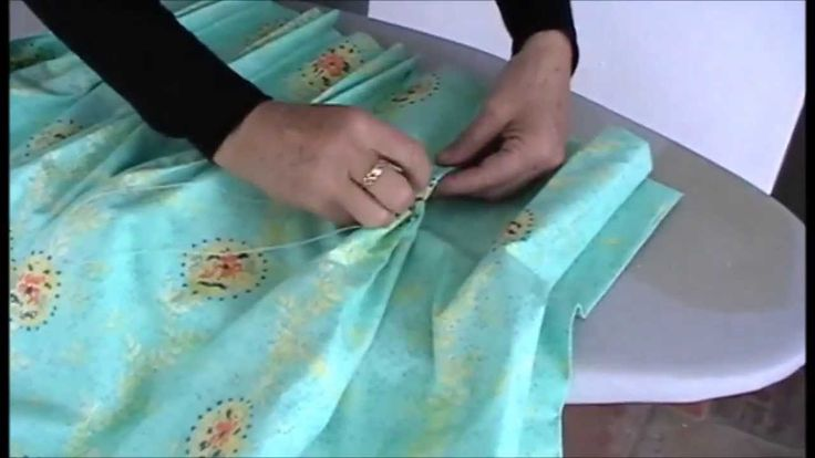 Sew the bottom of the pleats by hand