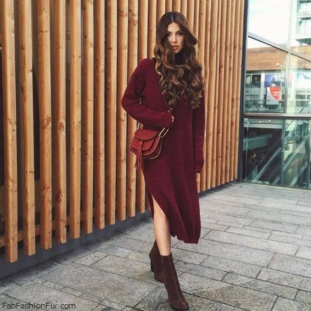 Burgundy Sweater Dress And Suede Booties For Chic Fall Style