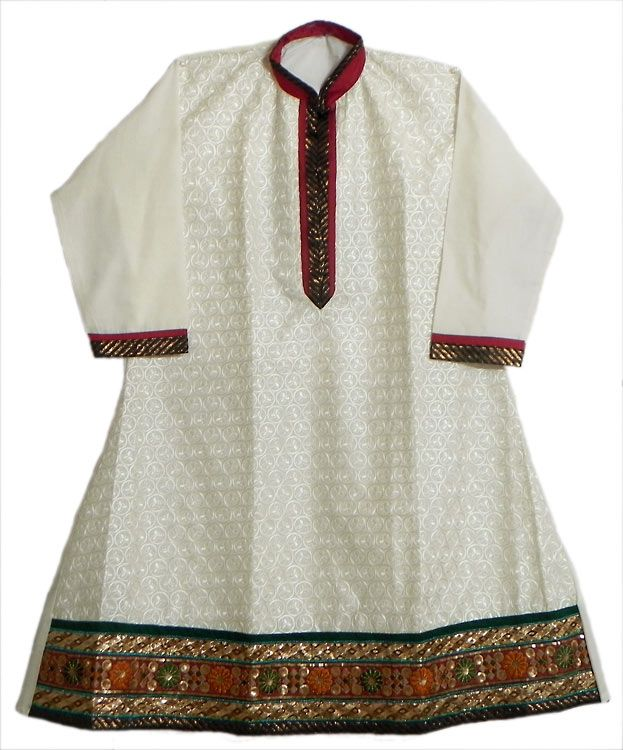 Off-White Embroidered Kurti with Golden Border (Cotton))