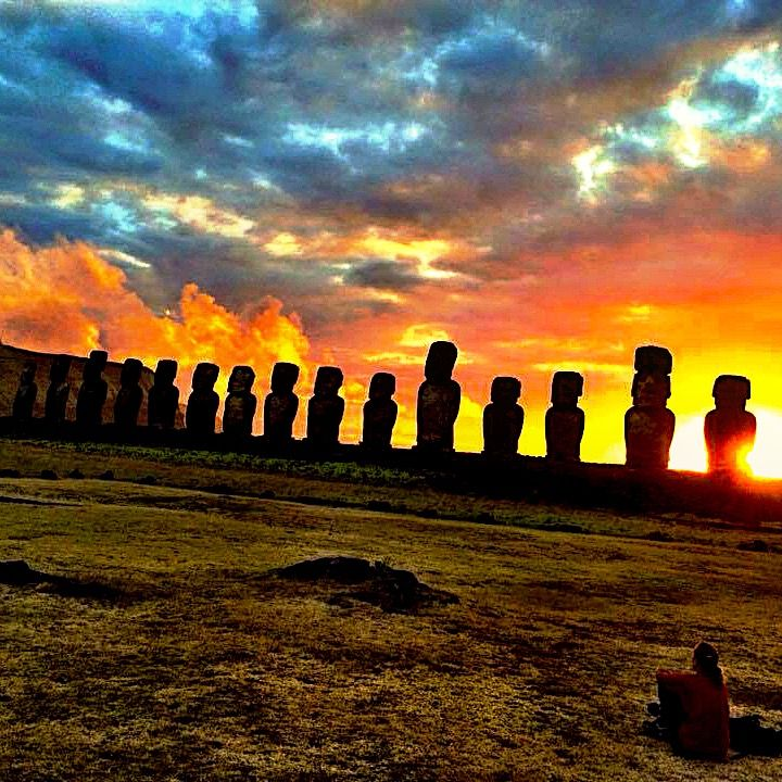 Sentinels at Sunrise - Easter Island, Chile