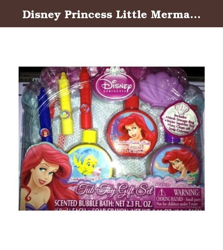 Disney Princess Little Mermaid Tub Toy Gift Set Ariel. If you are looking at a brand new set of tub toys for ages 3 and up. It is from Disney Little Mermaid Ariel. You will get a mesh storage bag, water squirter toy, easy clean off soap crayon, and scented bubble bath (cotton candy, banana, and strawberry. Super cute! Perfect christmas gift for girls.