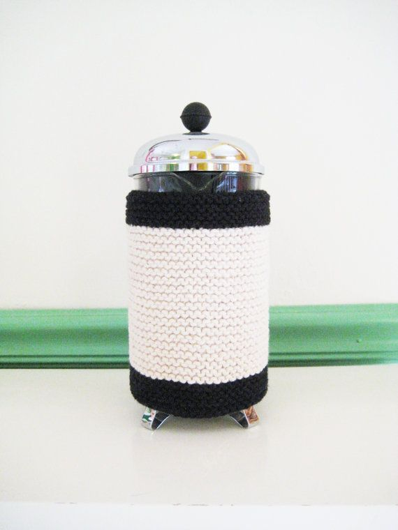 French Press Coffee Cozy  Contemporary Black by CozyKitchenKnits