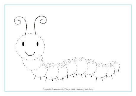 Caterpillar Tracing Page Tracing sheets Kindergarten