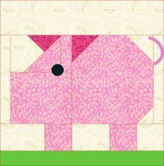 Patch Pig quilt block pattern