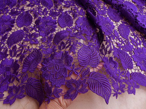 Purple winter dress lace fabrics 120cm wide Bride dress fabric water souble embroidery dress fabric 1/2 yard on Etsy, $25.98