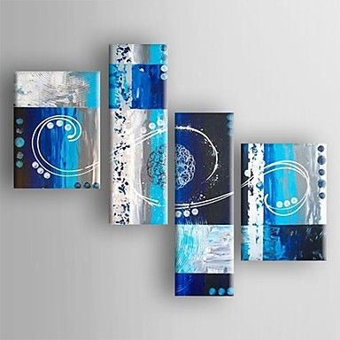 Oil Painting Modern Abstract  Set of 4 Hand Painted Canvas with Stretched Framed – AUD $ 226.09