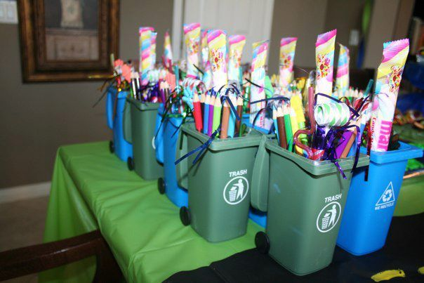 trash or garbage truck favors- trash cans from amazon                                                                                                                                                                                 More