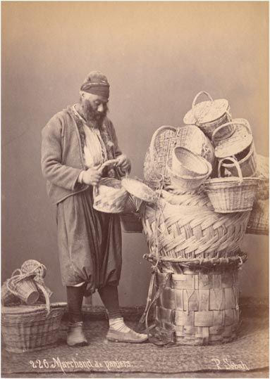 "Pascal Sébah (1823-1886): SEPET SATICISI (basket seller).  Istanbul, 1873. The present picture is part of Les Costumes Populaires de la Turquie, an album of photographs by the famous photographer Pascal Sebah, on the occasion of the universal exposition in Vienna in 1873. The album was entitled ""Ouvrage publié sous le patronage de la Commission impériale ottomane pour l'Exposition universelle de Vienne""."