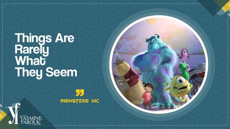 """ الأشياء نادرًا ما تبدو كما تراها "".. 🌷شركة المرعبين 🌷 "" Things Are Rarely What They Seem "" .. 🌷Monsters Inc🌷, #animation #cartoon #movies #quotes #quotation"