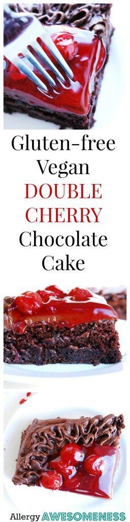 Gluten-free Vegan Double Cherry Chocolate Cake (Gluten, dairy, egg, soy, peanut & tree nut free; top 8 free) Perfect Valentine's Dessert by AllergyAwesomeness.com