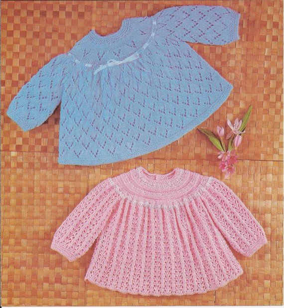 Vintage Knitting Baby Patterns : PDF Knitting Pattern Vintage Knitted Baby Angel Tops/Matinee Coats (X29)