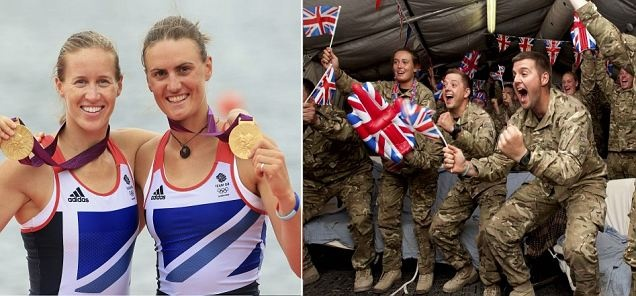 Team GB's golden girls: British army captain and her rowing partner win our first gold - cheered on by her colleagues in Afghanistan