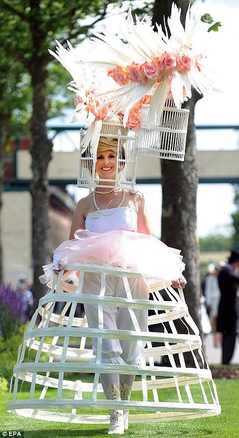 Redefining bird watching! Racegoers attend day three of Royal Ascot at Ascot Racecourse on June 21, 2012 in #Ascot, England. EPA. #British #Eccentic #Fashion