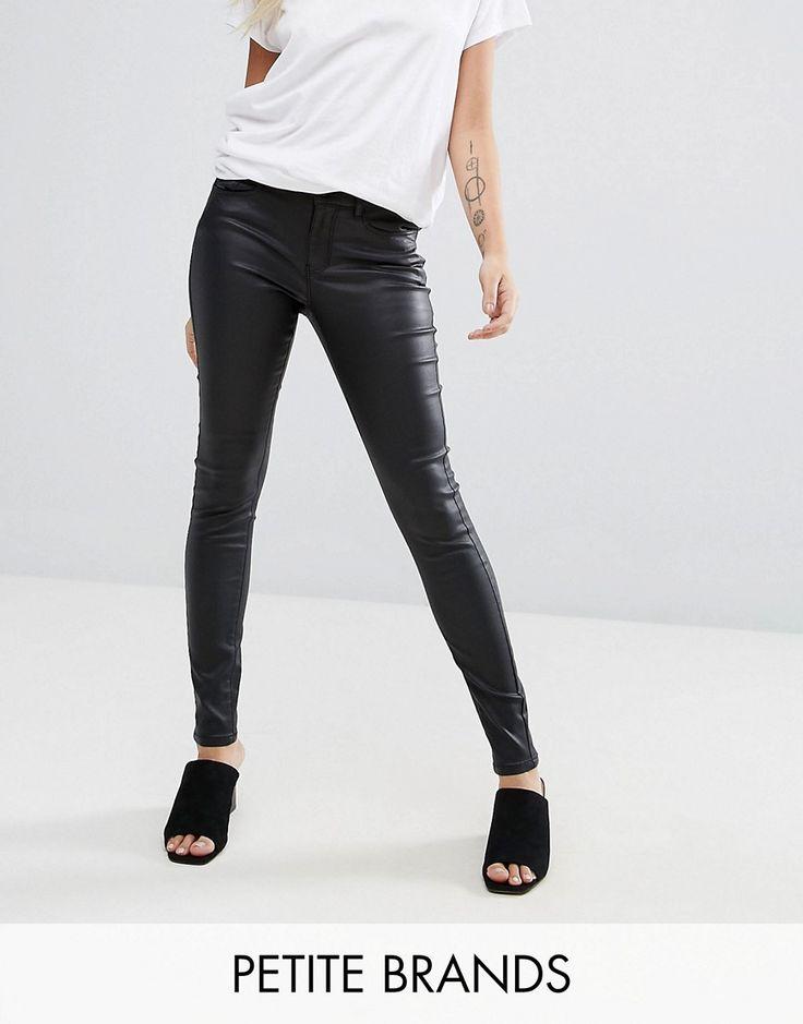 Vero Moda Petite Coated Skinny Jeans - Black