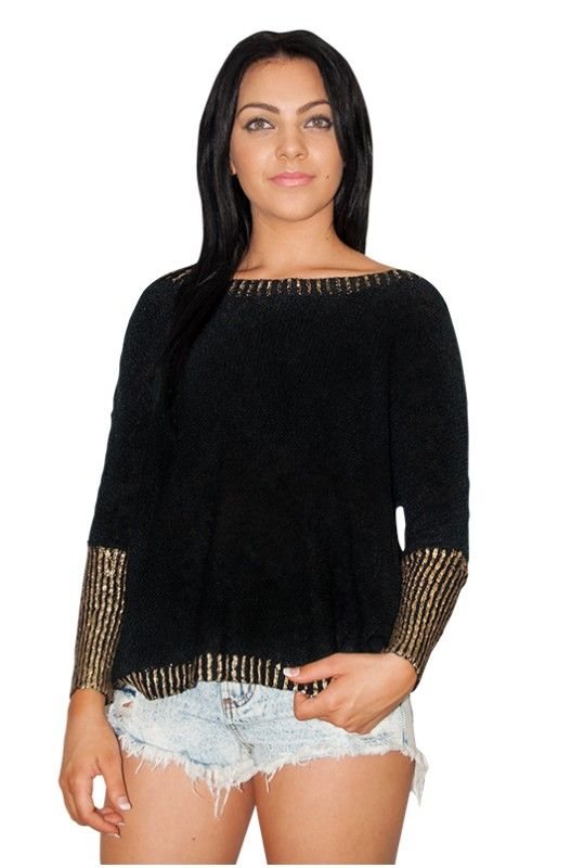 """Grand Bazaar"" Sweater Top- Beautiful gold trim. Round Neck. Available in Black & Beige."