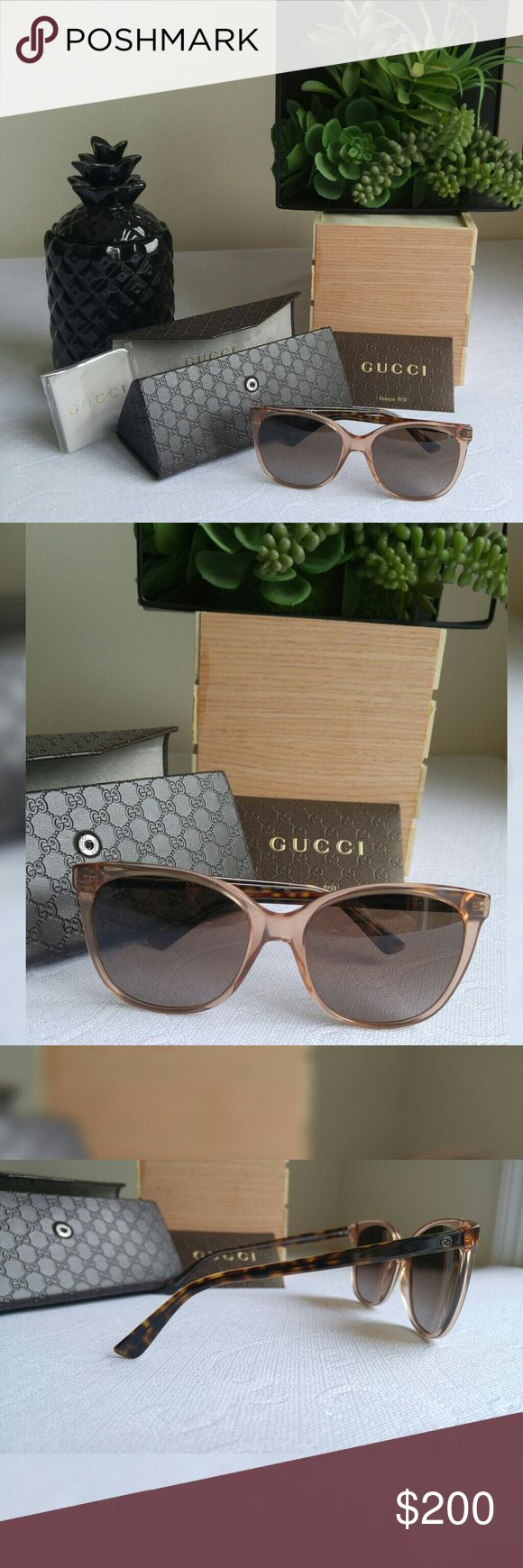 ✨ Gucci Transparent Rust Cat Eye Sunglasses Gucci translucent plastic frames. Rose gold like oversized frames. Features Gucci logo on temples. Tortoise shell patterned arms. 100% UV Protection. Comes with original hard case, cleaning cloth, and literature.  ✨ Condition is NWT no flaws.  ✨✨Check out my other listings for a bundle discount. Happy to answer any questions. ☺☺ Gucci Accessories Sunglasses