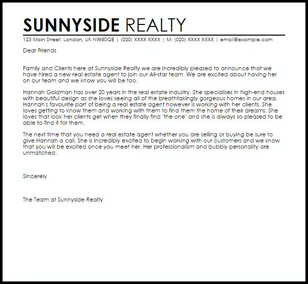 new real estate agent announcement letter livecareer completion thank you client