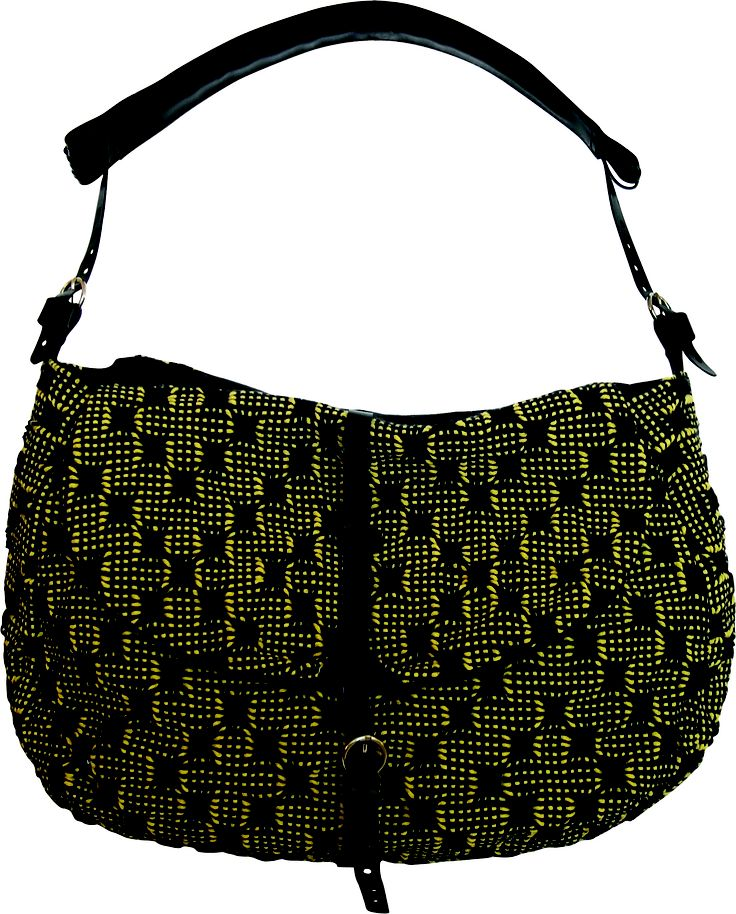 Tombola bag in handwoven fabric matto yellow. 100% cotton. leather handle and details