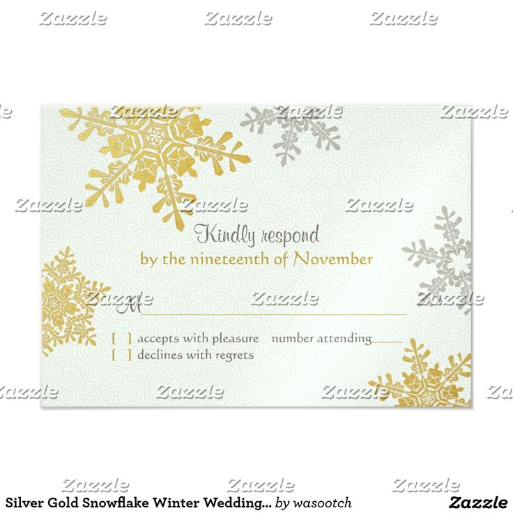 Silver Gold Snowflake Winter Wedding Reply Card