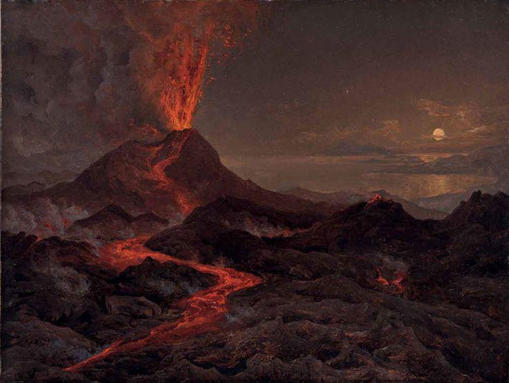 Night view of Vesuvius erupting by Johan Christian Dahl (1766 - 1857)