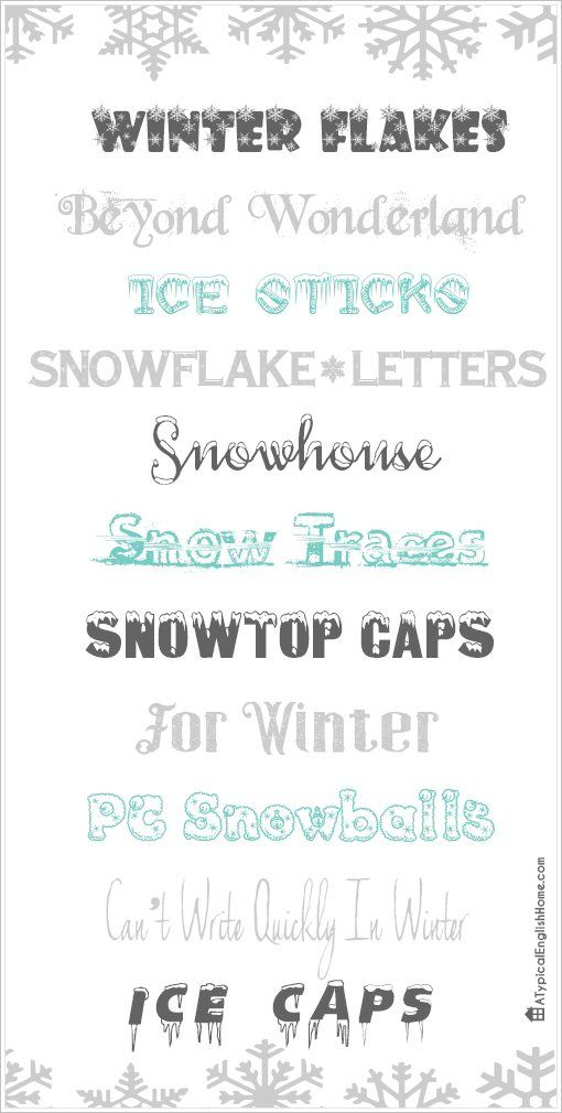 best winter fonts a typical english home font astic. Black Bedroom Furniture Sets. Home Design Ideas