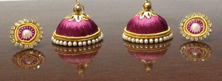 Burgundy Silk Thread Ear-ring! WhatsApp to order 9486109587 #hurryUp