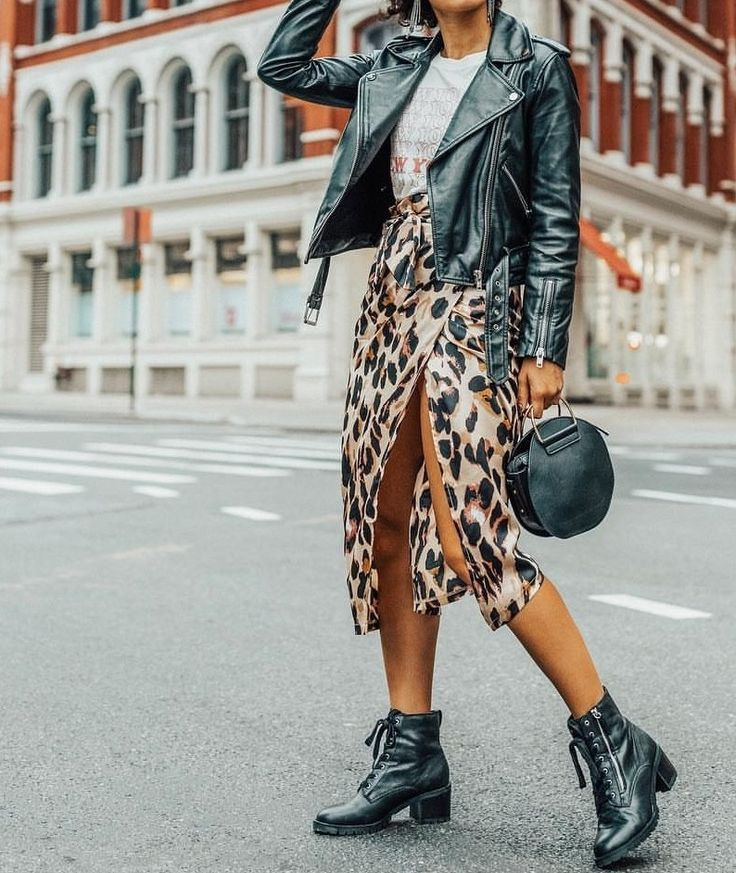 c2fe867c6681 fall style inspiration and outfits | autumn outfit ideas and inspo | leather  moto jacket with graphic tee, leopard print midi skirt and black booties