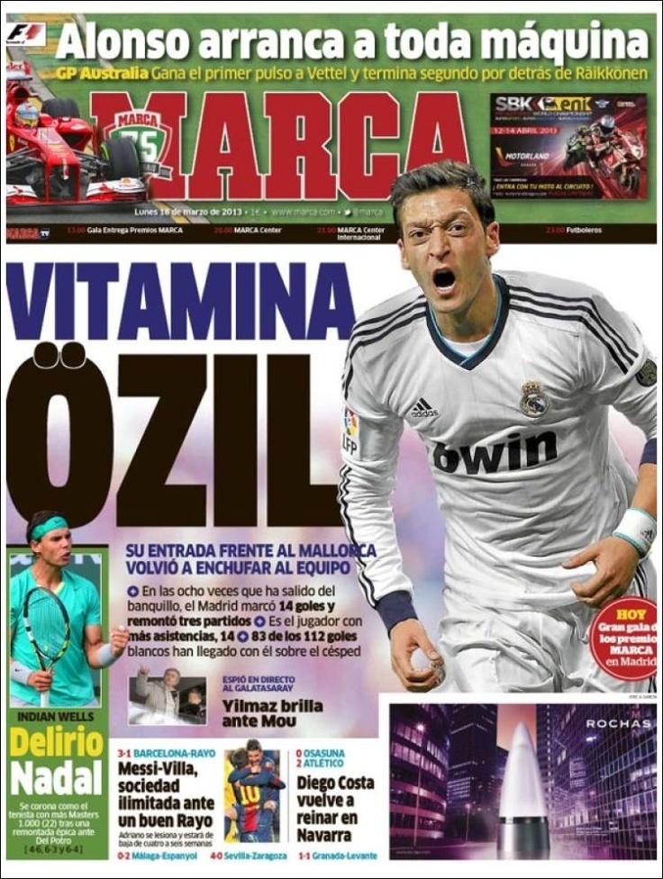 Los Titulares y Portadas de Noticias Destacadas Españolas del 18 de Marzo de 2013 del Diario Deportivo Marca ¿Que le parecio esta Portada de este Diario Español?