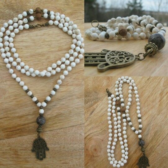 White Turquoise with Hamsa. Malabead necklace.