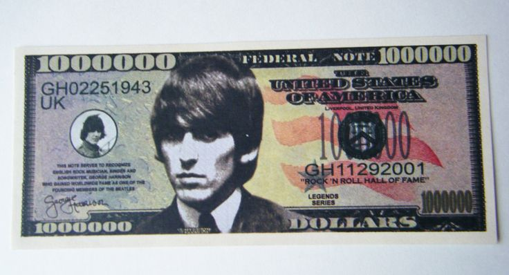 Extremely Rare The Beatles One Million Dollar Bill Cash Money Fab 4 On One Side and George Harrison Featured On The Other by parkledge on Etsy
